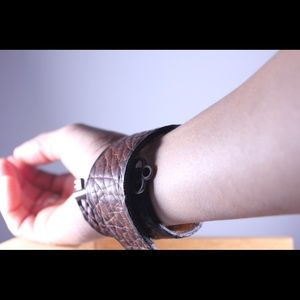 One of a Kind - Handmade Jewelry - Handmade leather cuff with skeleton key